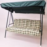 Happy 3 Seater Swinging Hammock in Green with Pavia Check Cushions W195cm x D106cm