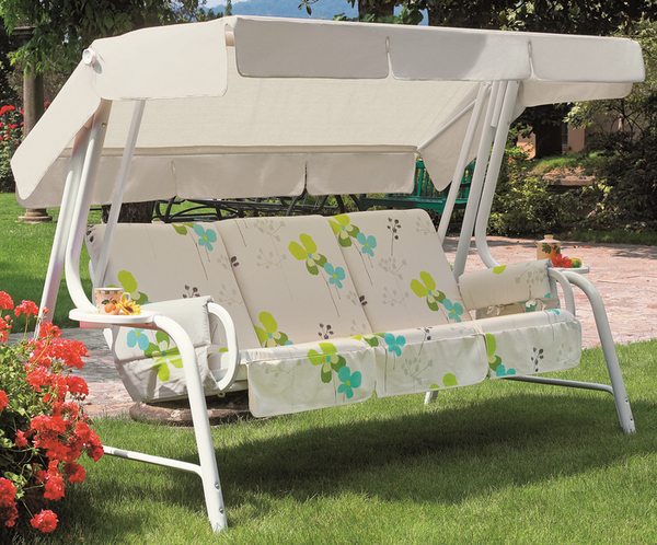 Lord Deluxe 4 Seater Swinging Hammock in White and Summer Breeze Floral W262cm x L123cm