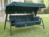 Lord Deluxe 4 Seater Swinging Hammock in Forest Green with Hunter Green Cushions W262cm x L123cm