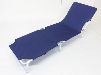 Brandine Folding Ratchet Sun Bed in White and Blue W60cm x L180cm