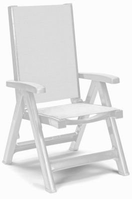 SCAB Esmeralda Folding 5 Position Synthetic/Resin Arm Chair in White W108cm x D68cm