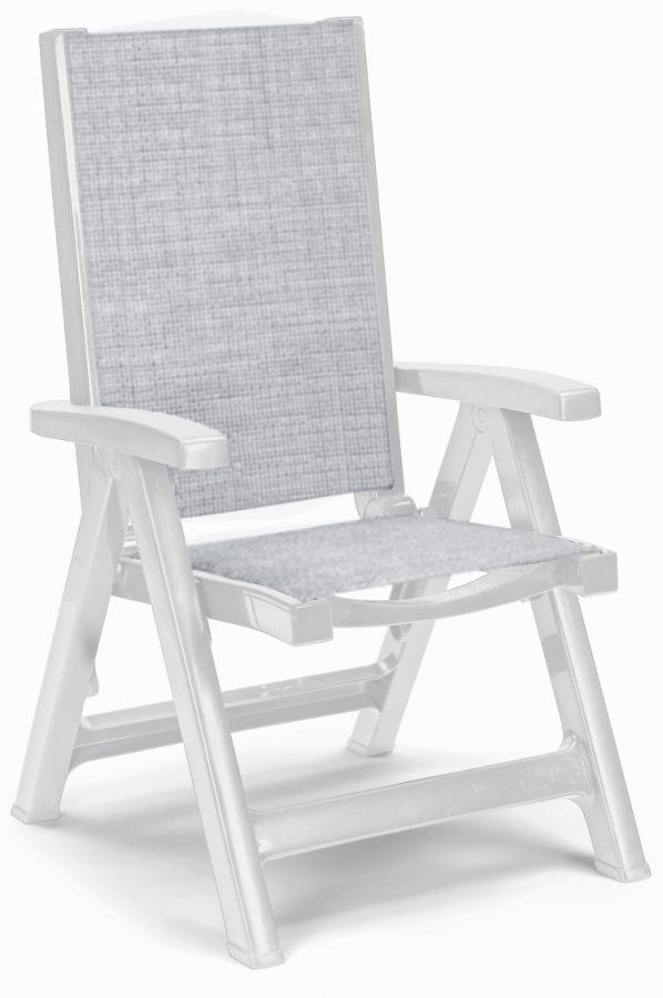 SCAB Esmeralda Folding 5 Position Synthetic / Resin Arm Chair in White and Grey W62cm x D68cm