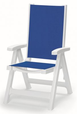 SCAB Esmeralda Folding 5 Position Synthetic / Resin Arm Chair in White and Blue W62cm x D68cm