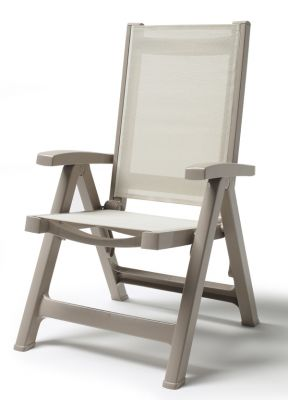 SCAB Esmeralda Folding 5 Position Synthetic / Resin Arm Chair in Grey and Ivory W62cm x D68cm