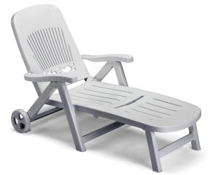 SCAB Splendido Folding 6 Position Resin Sun Bed with Wheels in White W80cm x L190cm