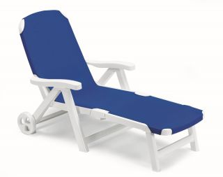 SCAB Smeraldo Resin Sun Bed with Wheels in White and Blue W80cm x L190cm