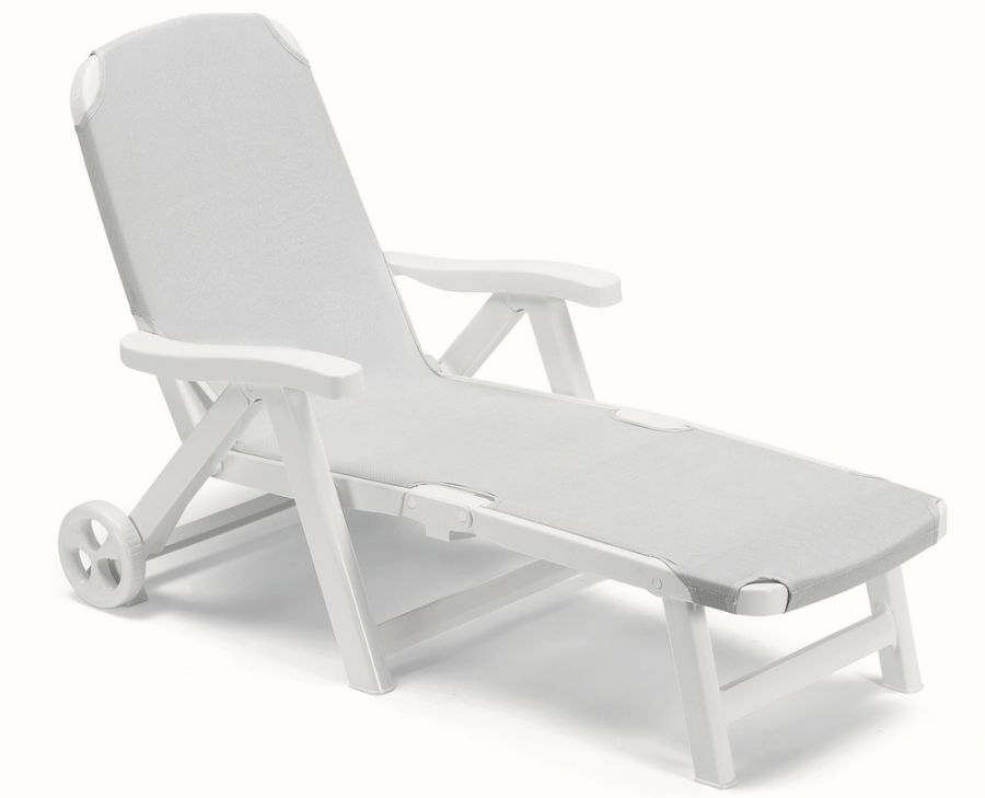 SCAB Smeraldo Synthetic  / Resin Sun Bed with Wheels in White and Pearl Grey W80cm x L190cm