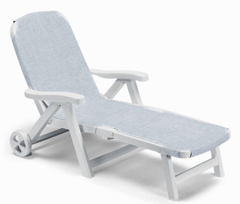 Smeraldo Synthetic  / Resin Sun Bed with Wheels in White and Silk Grey W80cm x L190cm