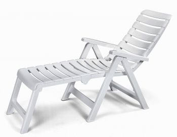 Cleopatra Folding 2 in 1 Resin Lounger in White W60cm x L190cm