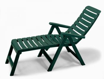SCAB Cleopatra Folding 2 in 1 Resin Lounger in Forest Green W60cm x L130cm