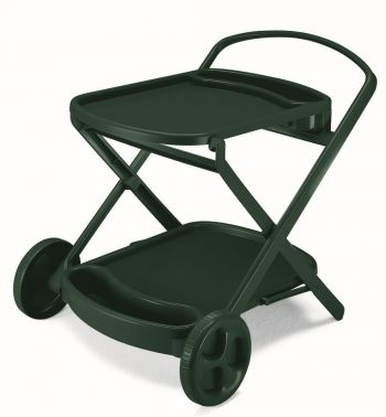 SCAB Perlage Folding Resin Drinks Trolley with Wheels in Forest Green W90cm x H79cm
