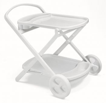 SCAB Perlage Folding Resin Drinks Trolley with Wheels in White W90cm x H79cm