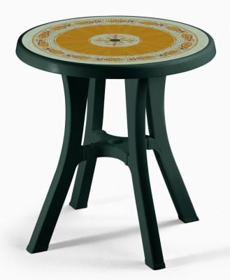 SCAB Pol 70cm Round Resin Bistro Table in Forest Green with Mosaic