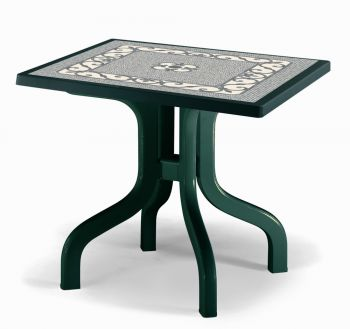 SCAB Ribalto Square Folding Resin Table 80cm in Forest Green with Iron Deco