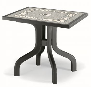 SCAB Ribalto Square Folding Resin Table 80cm in Anthracite Grey and Iron Deco