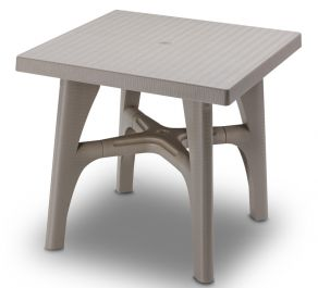 SCAB Intrecciata Rattan Style Square Resin Table 80cm in Dove Grey