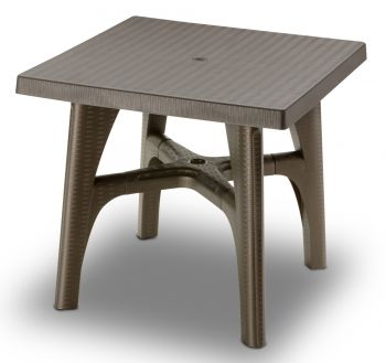 SCAB Intrecciata Rattan Style Square Resin Table 80cm in Bronze