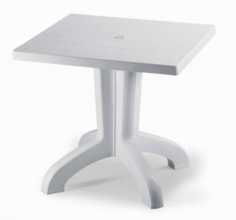 SCAB Daytona Square Resin Table 80cm in White