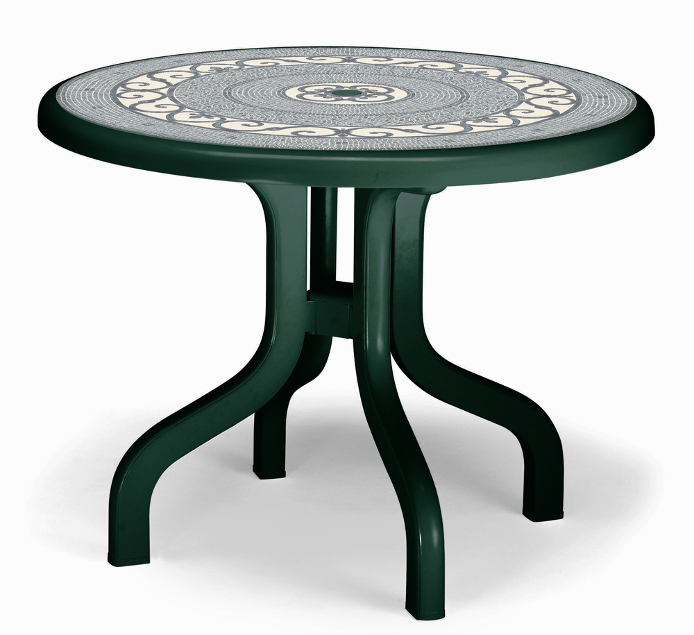 SCAB Ribalto Round Folding Resin Table 95cm in Forest Green with