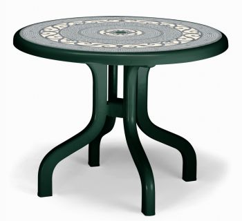 SCAB Ribalto Round Folding Resin Table 95cm in Forest Green with Iron Deco