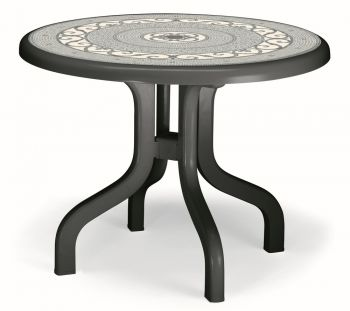 SCAB Ribalto Round Folding Resin Table 95cm in Anthracite Grey with Iron Deco