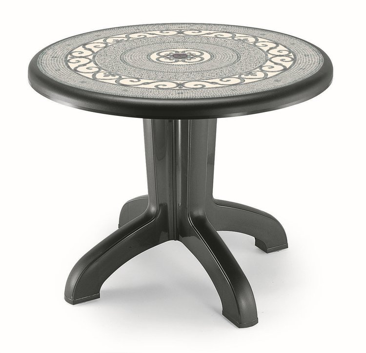 SCAB Daytona Round Resin Table 95cm in Anthracite Grey with Iron Deco
