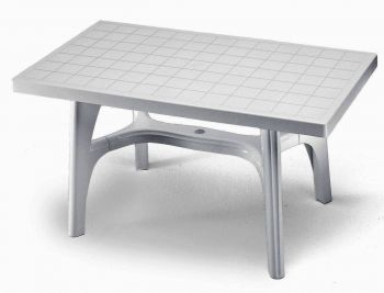 SCAB Rettango Rectangular Resin Table in White 140cm x 80cm