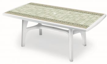 SCAB President Rectangular Resin Table 150cm x 90cm in White with Tile Deco
