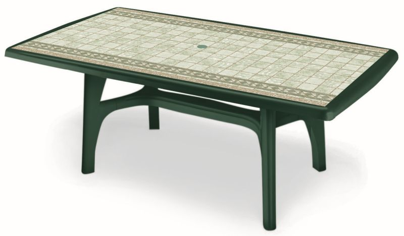 SCAB President Rectangular Resin Table 150cm x 90cm Forest Green with Tile Deco