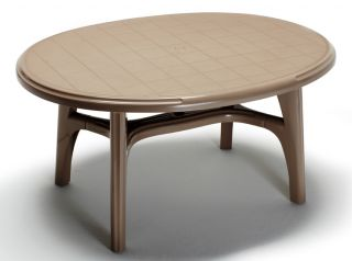 SCAB Ovolone Oval Resin Table 150cm x 113cm in Dove Grey