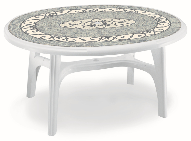 SCAB Ovolone Oval Resin Table 150cm x 113cm in White with Iron Deco