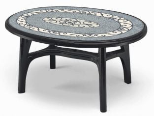 SCAB Ovolone Oval Resin Table 150cm x 113cm in Anthracite Grey with Iron Deco