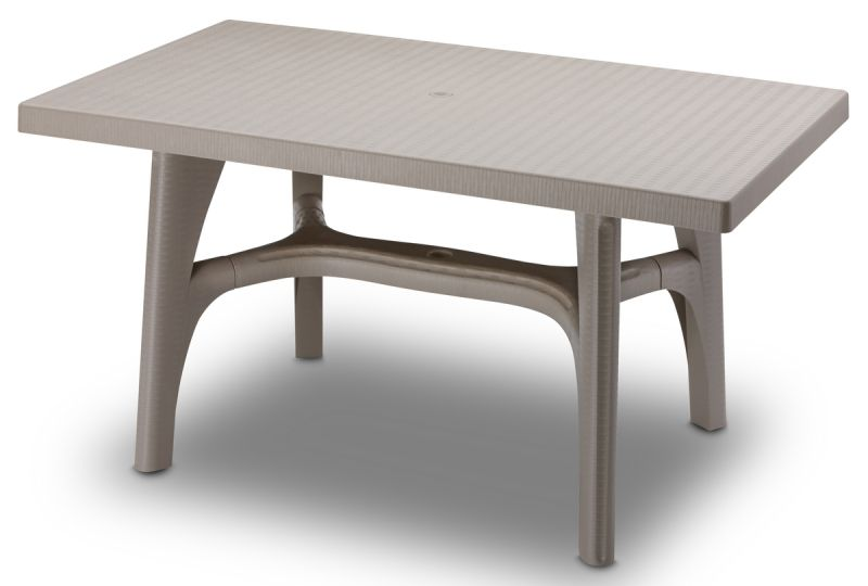 SCAB Intrecciata Rattan Style Rectangular Resin Table 140cm x 80cm in Dove Grey