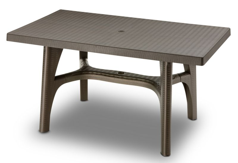 SCAB Intrecciata Rattan Style Rectangular Resin Table 140cm x 80cm in Bronze