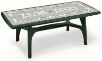 SCAB President Rectangular Resin Table 200cm x 95cm in Forest Green with Iron Deco