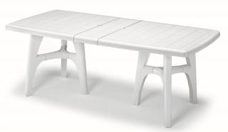 SCAB President Tris Rectangular Extending Resin Table in White 170cm - 220cm x 95cm
