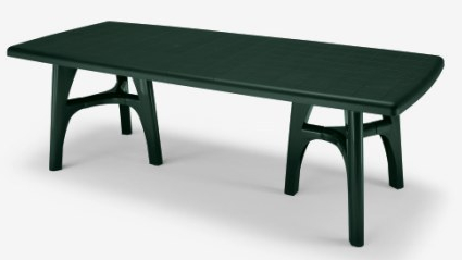 SCAB President Tris Rectangular Extending Resin Table in Forest Green 170cm - 220cm x 95cm