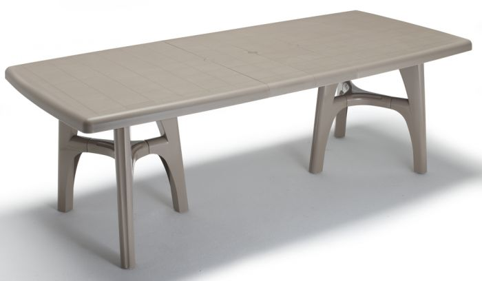 SCAB President Tris Rectangular Extending Resin Table in Dove Grey 170cm - 220cm x 95cm