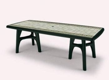 SCAB President Tris Rectangular Extending Resin Table in Forest Green with Tile Deco 170cm - 220cm x 95cm
