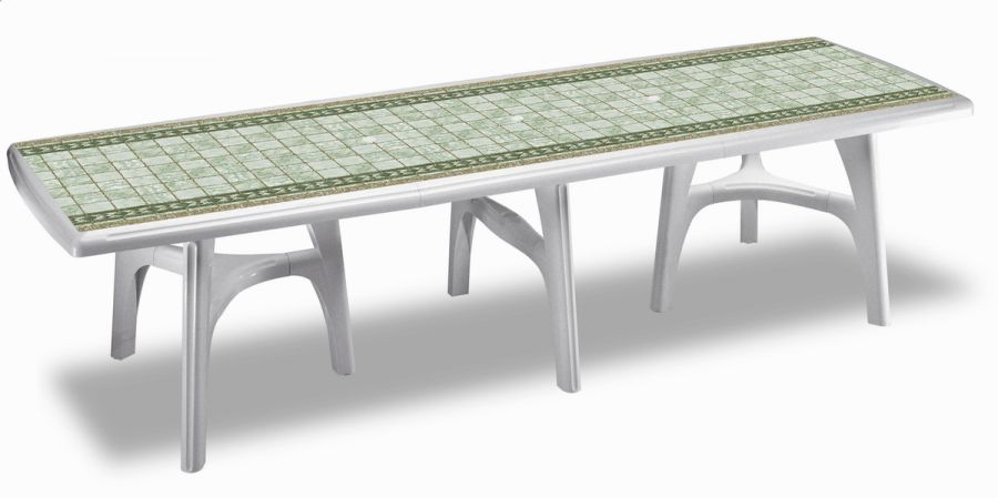 SCAB President Rectangular Resin Table in White with Tile Deco 300cm x 95cm