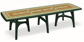 SCAB President Rectangular Resin Table in Forest Green with Mosaic Deco 300cm x 95cm