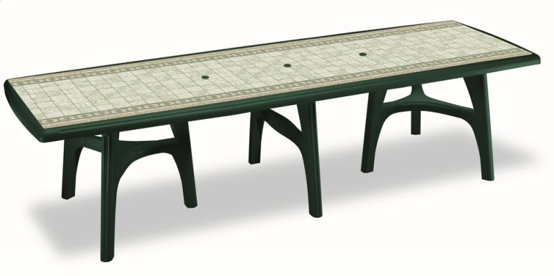 SCAB President Rectangular Resin Table in Forest Green with Tile Deco 300cm x 95cm