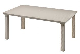SCAB Triplo Rattan Style Rectangular Extending Resin Table in Dove Grey 170cm - 220cm x 100cm