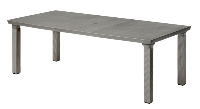 SCAB Triplo Rattan Style Rectangular Extending Resin Table in Anthracite Grey  170cm - 220cm x 100cm