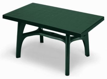 SCAB Five Seater Rettango Resin Dining Set in Forest Green