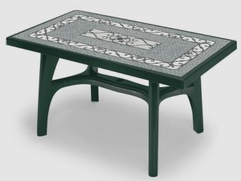 SCAB Six Seater Rettango Resin Dining Set in Forest Green with Iron Deco