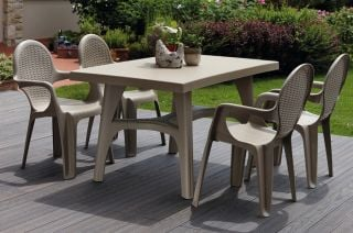 SCAB Six Seater Synthetic Rattan Dining Set in Dove Grey