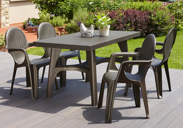 SCAB Six Seater Synthetic Rattan Dining Set in Bronze
