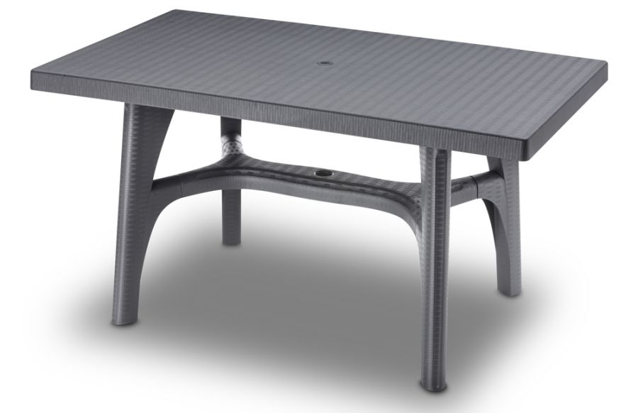 SCAB Six Seater Synthetic Rattan Dining Set in Anthracite Grey