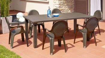 SCAB Eight Seater Triplo Extendable Dining Set in Bronze